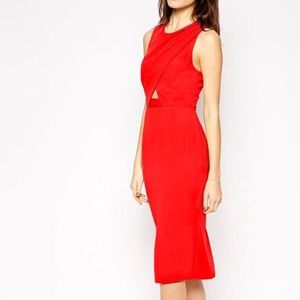 ASOS red pencil dress with front cutout